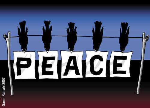 Cartoon: Black peace (medium) by samir alramahi tagged peace,palestine,israel,arab,ramahi