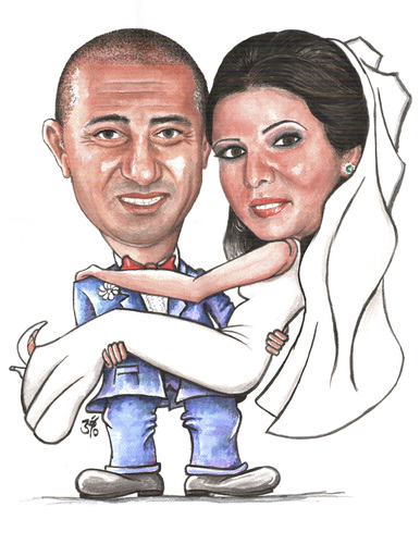 Cartoon: summer weding (medium) by samir alramahi tagged summer,weding,jordan,ramahi,cartoon,arab,portrait