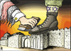 Cartoon: arab and my town (small) by samir alramahi tagged arab,jerusalem,palestine,israel,aqsa,ramahi,kofiah