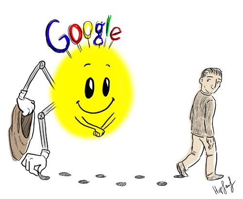 Cartoon: Google (medium) by Hopfauf tagged internet,datenschutz,user,suchmaschine,datenbank,nutzerdaten,speichern,sammeln,daten,google