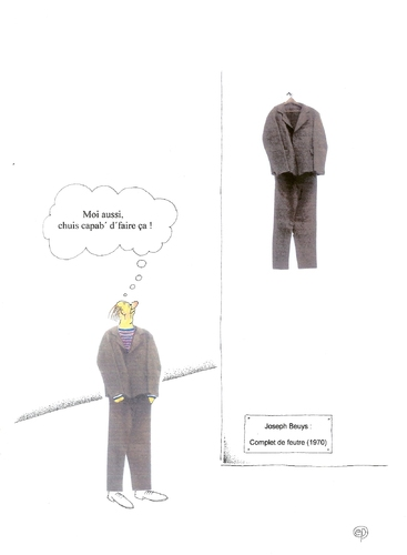 Cartoon: Moi aussi ... (medium) by Erwin Pischel tagged pischel,museum,suit,veste,anzug,jacket,jacke,pantalon,trousers,hose,vetements,clothing,clothes,kleidung,art,modern,kunst,moderne,feutre,de,complet,multiple,filzanzug,beuys,joseph