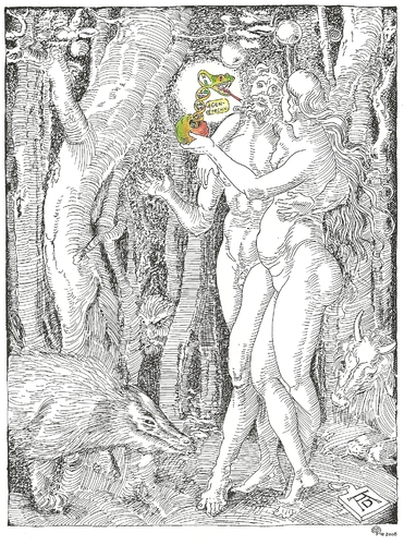 Cartoon: The Wood-Worm in the Apple (medium) by Erwin Pischel tagged the,pischel,gentechnology,gentechnologie,dna,dns,snake,schlange,apple,apfel,eva,und,eve,and,adam,dürer,albrecht