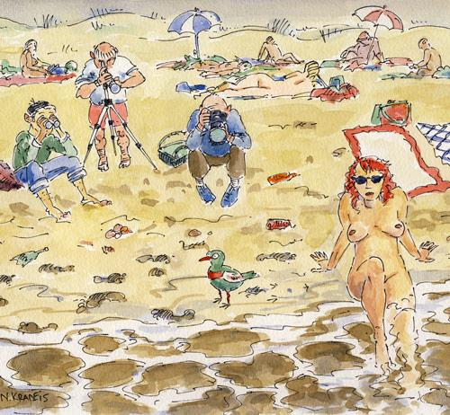 Cartoon: birdwatchers on a nude beach (medium) by neophron tagged birds,nude