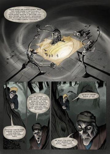 Cartoon: wraith_page04 (medium) by glasseye tagged fantasy,sword,sorcery,horror,conjure,goblin,wraith,wizard,fire,ghost,bones