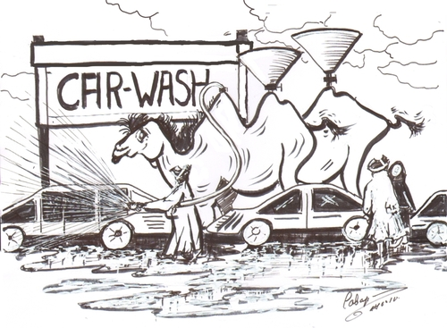 cartoon car washing. Cartoon: car wash in the
