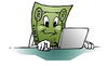 Cartoon: buck computing (small) by dumo tagged laptop,computer,computing,dollar,bill,money,buck,cartoon,color