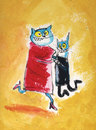 Cartoon: lets dance (small) by ari tagged katze tanz kater