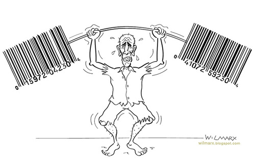 Cartoon: Miserable weightlifting (medium) by Wilmarx tagged barcode,capitalism,poverty