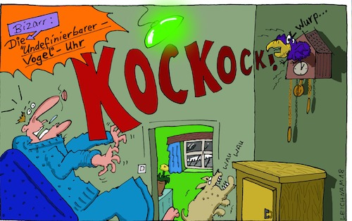 Cartoon: An der Wand (medium) by Leichnam tagged an,der,wand,undefinierbar,kuckuck,kockock,kuckucksuhr,bizarr,uhr,wanduhr,wurp,wau,erschrocken,schock,unerwartet,vogel,leichnam,leichnamcartoon