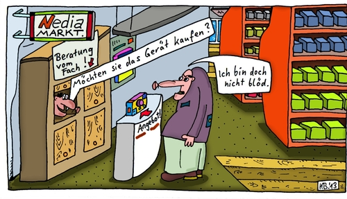Cartoon: Nedia MARKT. (medium) by Leichnam tagged nedia,markt,werbung,reklame,ich,bin,doch,nicht,blöd,beratung,vom,fach,angebot,gerät,elektronik,fachgeschäft