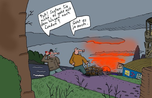 Cartoon: Puh! (medium) by Leichnam tagged puh,london,wagen,unterwegs,leichnamcartoon