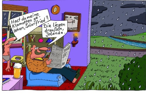 Cartoon: Schlimmer Tag (medium) by Leichnam tagged schlimm,klamotten,solarfried,jolanda,draußen,regen,sauwetter,leichnam,leichnamcartoon