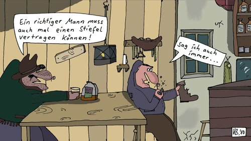 Cartoon: Western von gestern (medium) by Leichnam tagged western,saufen,whiskey,stiefel,trinkfest,saloon,wildwest