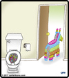 Cartoon: Pinata Poop (small) by cartertoons tagged bathroom,pinata,toilet,poop,candy
