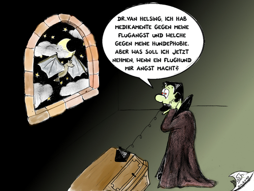 Cartoon: Graf Vlad - der Phobieker (medium) by swenson tagged drakula,dracula,vamier,vampir,fledermaus,flughund,bat,angst,sarg,telepfon,kasket,tier,animal,animals,2010