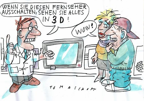Cartoon: 3D (medium) by Jan Tomaschoff tagged medien,real,virtuell,medien,real,virtuell