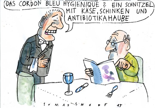 Cartoon: Cuisine (medium) by Jan Tomaschoff tagged antibiotika,fleisch,antibiotika,fleisch