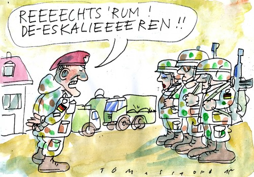 Cartoon: Deeskalationseinsatz (medium) by Jan Tomaschoff tagged bundeswehr,konflikte,bundeswehr,konflikte