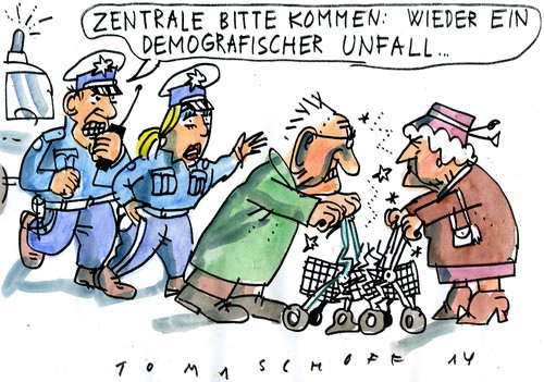 Cartoon: Demographischer Unfall (medium) by Jan Tomaschoff tagged alter,demografie,alter,demografie