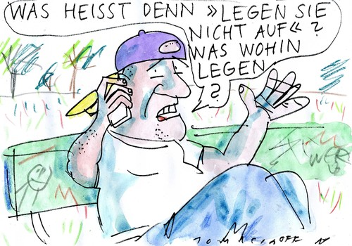 Cartoon: Dran bleiben (medium) by Jan Tomaschoff tagged handy,handy