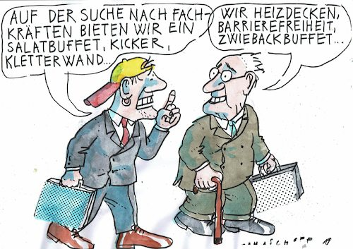 Cartoon: Fachkräftemangel (medium) by Jan Tomaschoff tagged lebensarbeitszeit,fachkräftemangel,lebensarbeitszeit,fachkräftemangel