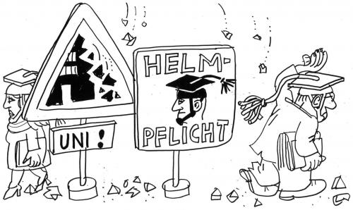 Cartoon: Helmpflicht (medium) by Jan Tomaschoff tagged universitäten,studium,studenten