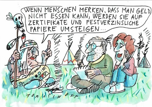 Cartoon: Indianerweisheit (medium) by Jan Tomaschoff tagged geld,sinn,geld,sinn