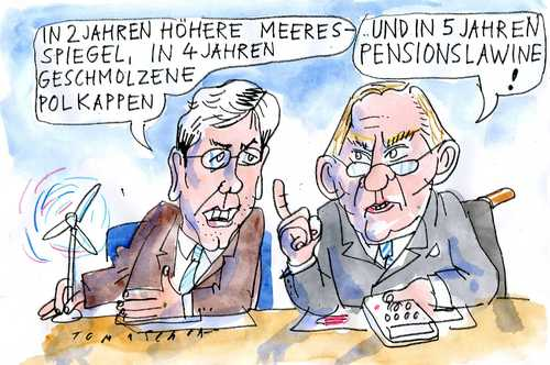 Cartoon: Katastrophen (medium) by Jan Tomaschoff tagged röttgen,schäuble,röttgen,schäuble,katastrophen