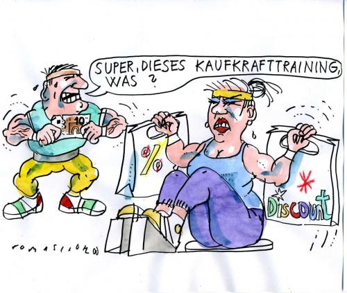 Cartoon: Kaufkrafttraining (medium) by Jan Tomaschoff tagged kaufkraft,konsum,preise