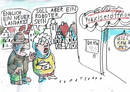 Cartoon: Landarzt (medium) by Jan Tomaschoff tagged ärztemangel,landarzt,ärztemangel,landarzt