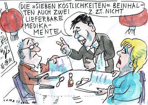 Cartoon: Medikamente (medium) by Jan Tomaschoff tagged gesundheit,medikamentenmangel,importe,china,gesundheit,medikamentenmangel,importe,china