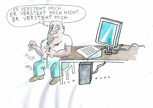 Cartoon: PC (medium) by Jan Tomaschoff tagged edv,pc,mensch,maschine,edv,pc,mensch,maschine