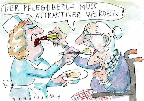 Cartoon: Pflegeberuf (medium) by Jan Tomaschoff tagged pflegenotstand,pflegenotstand