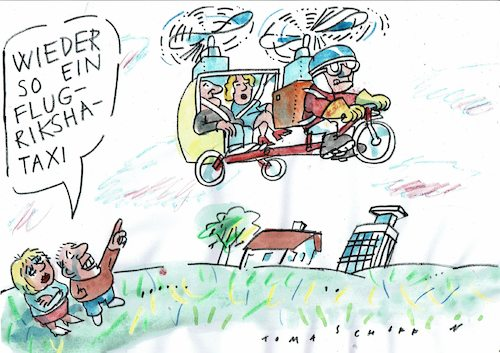 Cartoon: Riksha (medium) by Jan Tomaschoff tagged verkehr,fliegen,taxi,verkehr,fliegen,taxi