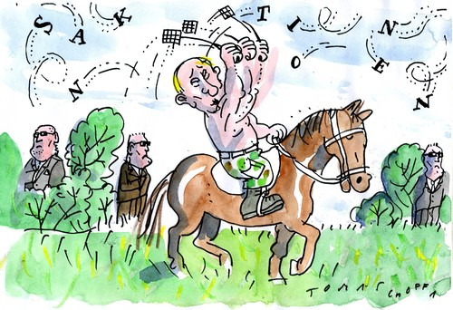 Cartoon: Sanktionenjäger (medium) by Jan Tomaschoff tagged russland,putin,sanktionen,russland,putin,sanktionen