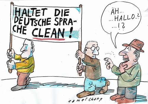 Cartoon: Sprache (medium) by Jan Tomaschoff tagged volkstümeln,sprache,fanatiker,volkstümeln,sprache,fanatiker