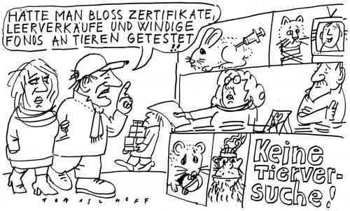Cartoon: Tierversuche (medium) by Jan Tomaschoff tagged finanzkrise,banken