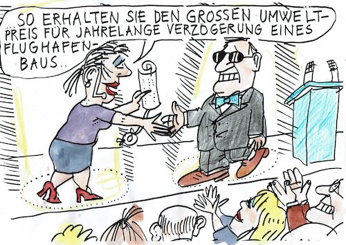 Cartoon: Umweltpreis (medium) by Jan Tomaschoff tagged umwelt,flugverkehr,flughafen,bauen,umwelt,flugverkehr,flughafen,bauen