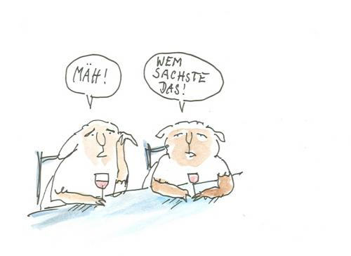 Cartoon: Wem sachste das! (medium) by nele andresen tagged bar,schafe,thekengespräch