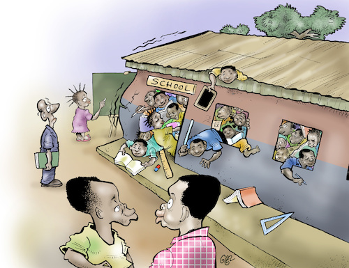 Cartoon: Schools in Africa (medium) by Damien Glez tagged schools,education,africa,schools,education,africa