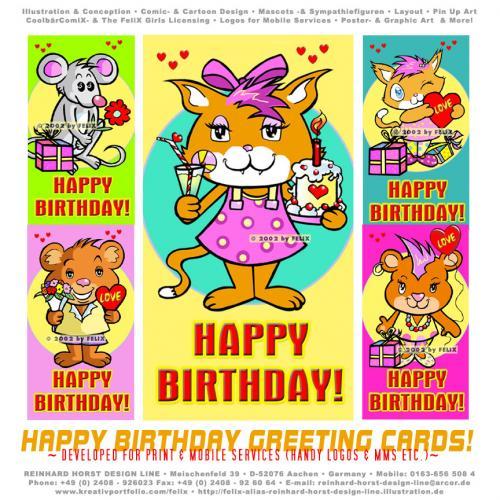 Cartoon Happy Birthday Cards Medium By FeliXfromAC Tagged Greetingcard Grusskarte