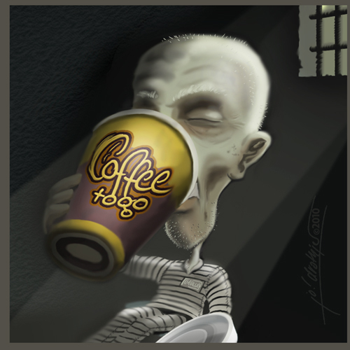 Cartoon: Coffee To Go (medium) by Jo Drathjer tagged gefangen,gefängnis,gang,chain,prison,escape,jail,go,to,coffe,ausbruch