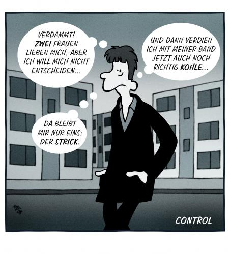 Cartoon: Control (medium) by volkertoons tagged cartoon,volkertoons,humor,misik,music,movie,film,joydivision,curtis,kino,ian curtis,joy division,control,film,showbusiness,erfolg,musikstar,selbstmord,ausweglosigkeit,verzweiflung,depression,lebenswille,sterben,tod,tot,selbsttötung,suizid,werther effekt,werthers leiden,musik,anton corbijn,cannes,ian,curtis,joy,division,werther,effekt,werthers,leiden,anton,corbijn