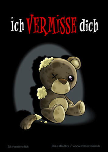 Cartoon: Ich vermisse dich (medium) by volkertoons tagged sad,traurig,alone,lonely,loneliness,alleinsein,allein,einsamkeit,dead,tot,order,of,out,damaged,kaputt,stofftier,kuscheltier,plüschtier,pet,toy,spielzeug,teddybär,bear,teddy,baer,bär,card,greeting,postkarte,grußkarte,karte,comic,cartoon,volkertoons