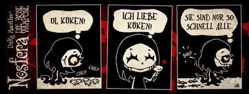 Cartoon: Nosfera - Küken (medium) by volkertoons tagged volkertoons,duke,macabre,nosfera,küken,hühnchen,kücken,süß,sweet,cute,fun,funny,lustig,humor,vampir,vampire,vampires,vampöse,böse,snack,chick,chicks,chicken,chickies,chicklet