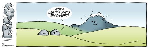 Cartoon: STEINE - Geschafft! (medium) by volkertoons tagged steine,stone,stones,comic,strip,cartoon,volkertoons,humor,lustig,funny,comic,steine,stein