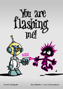 Cartoon: You are flashing me! (small) by volkertoons tagged volkertoons,cartoon,außerirdischer,alien,laser,invasion,humor,lustig,spaß,fun,funny,grußkarte,postkarte,karte,greeting,card