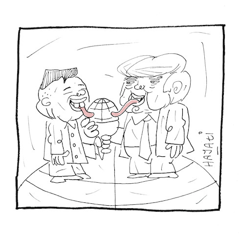Cartoon: Kim Jong-un versus Donald Trump (medium) by Hayati tagged kim,jong,un,nord,korea,kuzey,kore,donald,trump,amerika,usa,abd,cartoon,hayati,boyacioglu,berlin,kim,jong,un,nord,korea,kuzey,kore,donald,trump,amerika,usa,abd,cartoon,hayati,boyacioglu,berlin