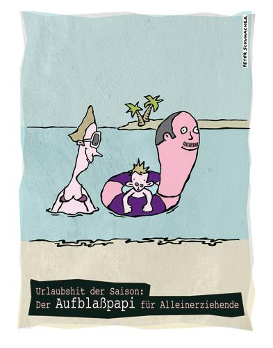 Cartoon: Aufblaßpapi (medium) by Peter Schumacher tagged kinder,scheidung,alleinerziehend,urlaub,strand,meer