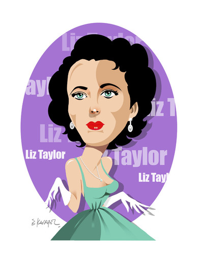 Cartoon: GOOD BYE LIZ TAYLOR (medium) by donquichotte tagged liz